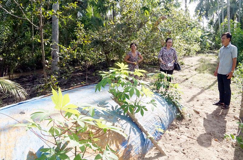 Mô hình trữ nước trong túi nylon ở huyện Giồng Trôm. Ảnh: Ánh Nguyệt