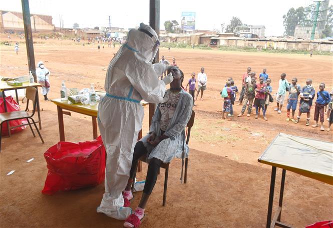 Nhân viên y tế lấy mẫu dịch xét nghiệm COVID-19 cho người dân tại Nairobi, Kenya, ngày 17-10-2020. Ảnh: THX/ TTXVN