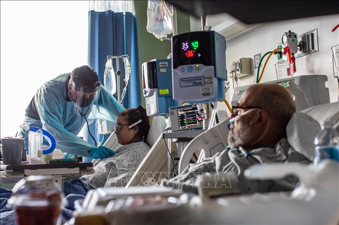 Điều trị cho bệnh nhân nhiễm COVID-19 tại bệnh viện ở Tarzana, California, Mỹ. Ảnh: AFP/TTXVN