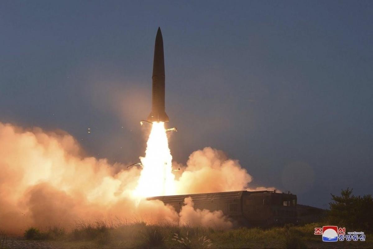 Một vụ phóng tên lửa của Triều Tiên. Ảnh: KCNA.