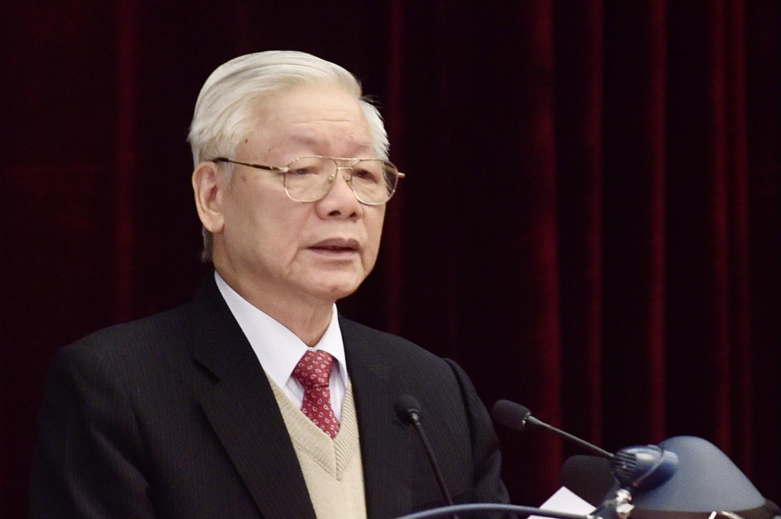 Tổng Bí thư, Chủ tịch nước Nguyễn Phú Trọng phát biểu khai mạc Hội nghị Trung ương 15. Ảnh: VGP/Nhật Bắc