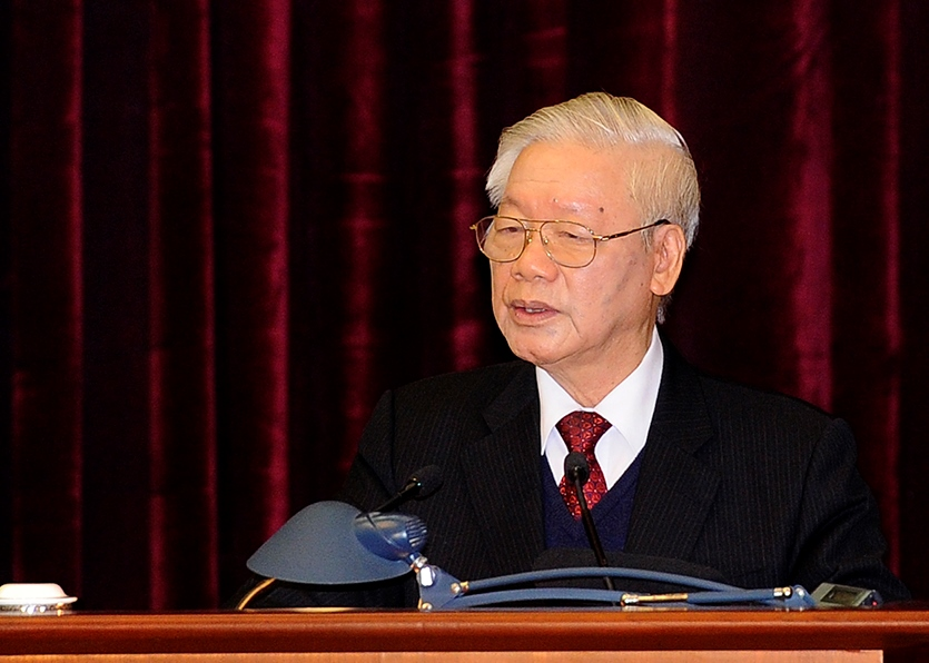 Tổng Bí thư, Chủ tịch nước Nguyễn Phú Trọng phát biểu bế mạc Hội nghị Trung ương 15.  Ảnh VPG