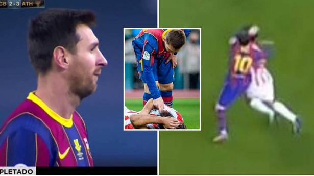 Messi nhận thẻ đỏ vì hành vi đánh cầu thủ đối phương