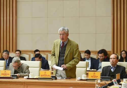 Ông Nguyễn Đức Kiên, tổ trưởng Tổ tư vấn kinh tế của Thủ tướng phát biểu tại cuộc họp. Ảnh: VGP/Quang Hiếu