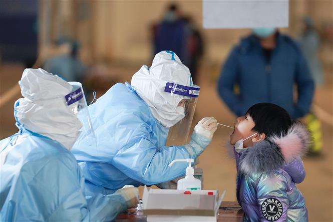 Nhân viên y tế lấy mẫu xét nghiệm COVID-19 tại quận Đại Hưng, Bắc Kinh, Trung Quốc, ngày 20-1-2021. Ảnh: THX/TTXVN