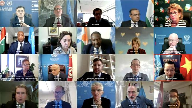 Đại diện các nước thành viên Hội đồng Bảo an Liên hợp quốc họp trực tuyến về vấn đề Syria. Ảnh: Hữu Thanh/Pv TTXVN tại New York, Hoa Kỳ