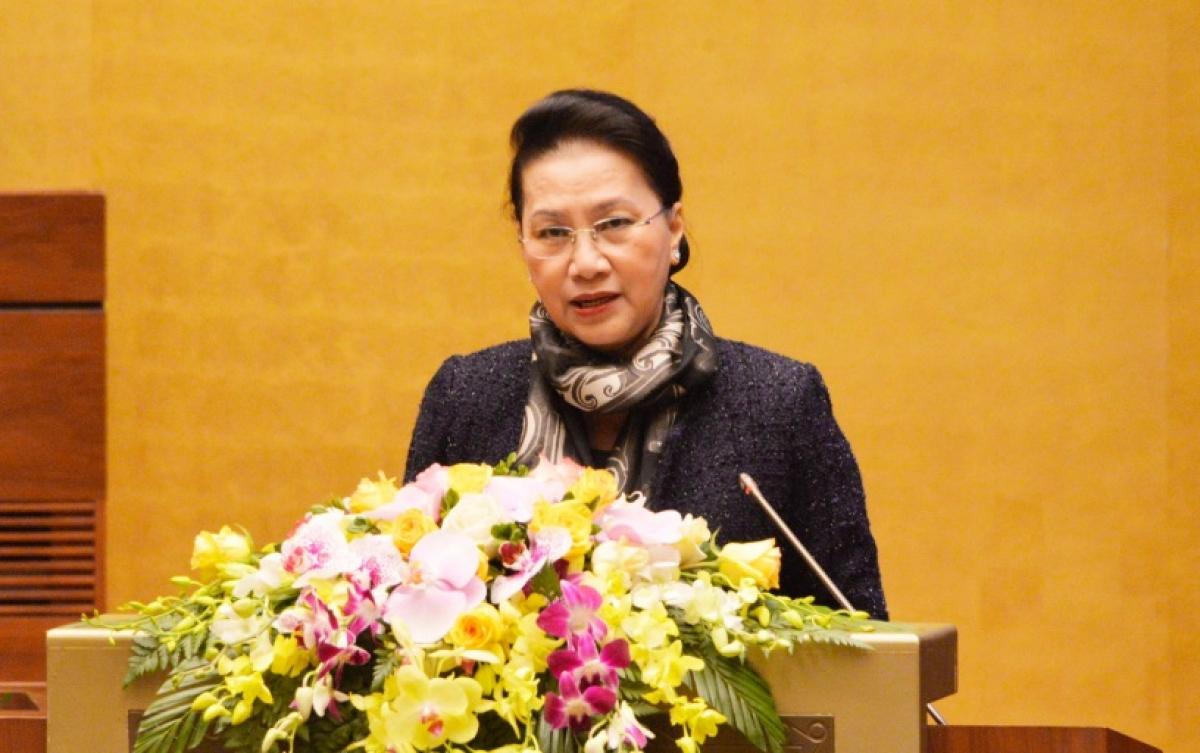 Chủ tịch Quốc hội Nguyễn Thị Kim Ngân phát biểu tại hội nghị.
