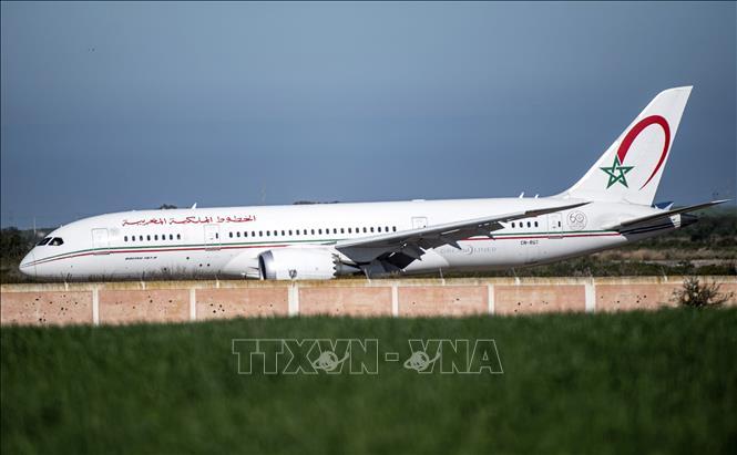 Máy bay của hãng hàng không quốc gia Maroc (RAM) đỗ tại sân bay Benslimane. Ảnh: AFP/TTXVN