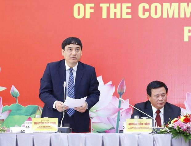 Ông Nguyễn Đắc Vinh, Ủy viên Trung ương Đảng, Phó Chánh Văn phòng Trung ương Đảng phát biểu tại buổi họp báo. Ảnh: Doãn Tấn/TTXVN
