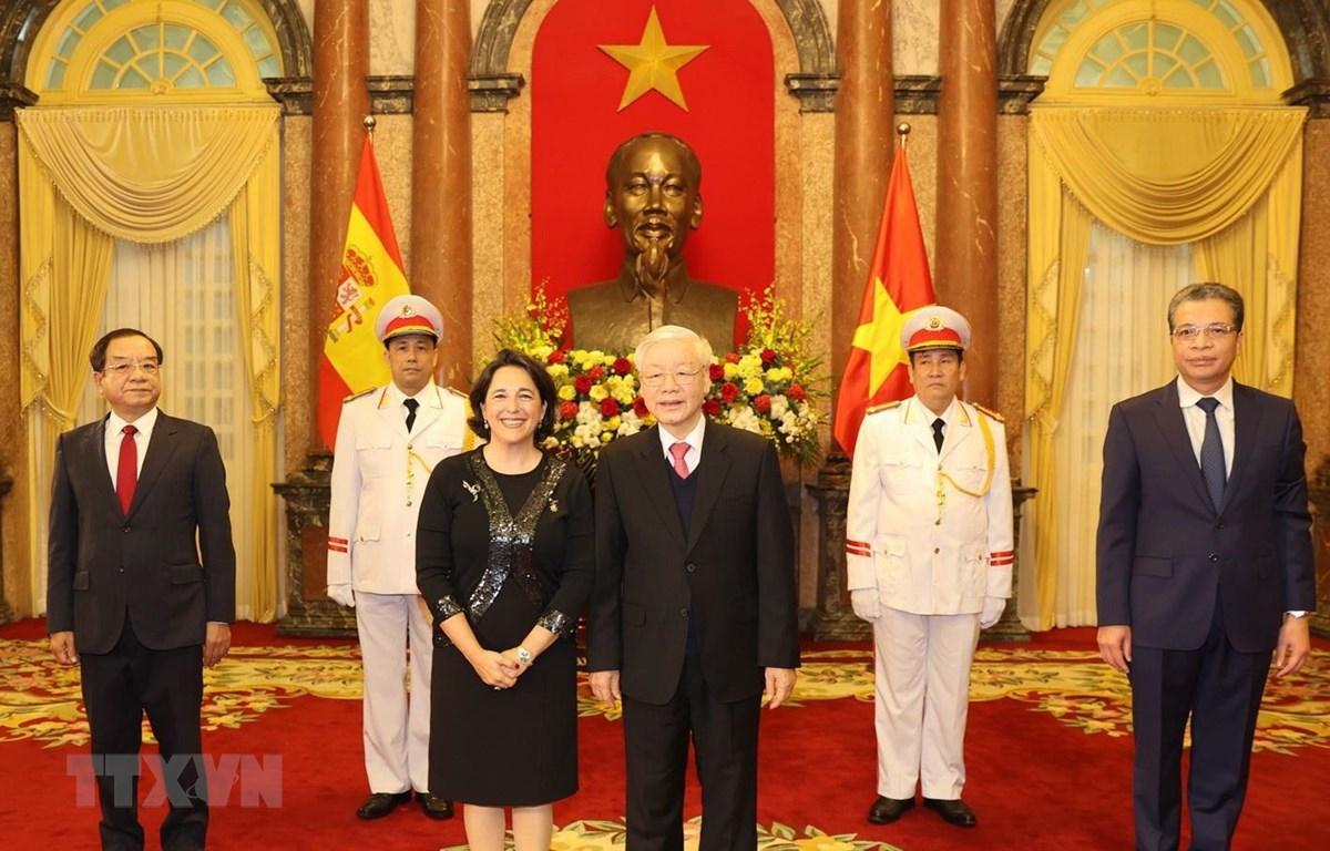 Tổng Bí thư, Chủ tịch nước Nguyễn Phú Trọng tiếp Bà María Del Pilar Méndez Jiménez, Đại sứ Đặc mệnh toàn quyền Tây Ban Nha tại Việt Nam đến trình Quốc thư. Ảnh: Trí Dũng/TTXVN