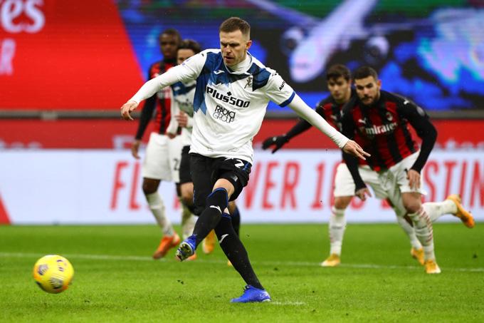 Illicic ghi bàn nâng tỷ số lên 2-0 trận Milan vs Atalanta