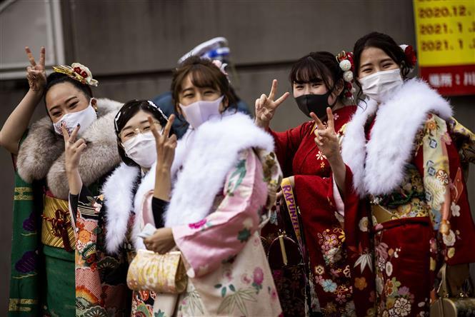 Lễ trưởng thành thời COVID ở Nhật Bản. Ảnh: TTXVN phát