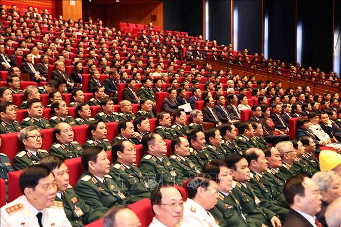 Đoàn đại biểu Đảng bộ Quân đội dự phiên khai mạc Đại hội. Ảnh: TTXVN