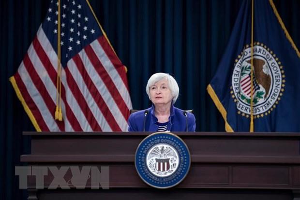 Bà Janet Yellen phát biểu tại một cuộc họp báo ở Washington, DC, Mỹ. (Ảnh: AFP/TTXVN)