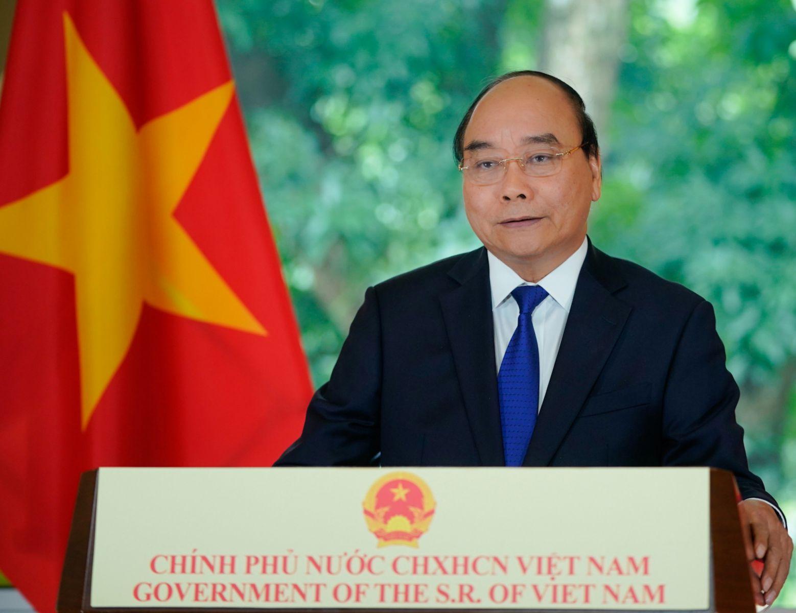 Thủ tướng Nguyễn Xuân Phúc gửi thông điệp tới Hội nghị về biến đổi khí hậu. Ảnh: VGP/Quang Hiếu