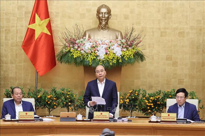 Thủ tướng Nguyễn Xuân Phúc phát biểu tại phiên họp thường kỳ tháng 1/2021. Ảnh: Thống Nhất/TTXVN