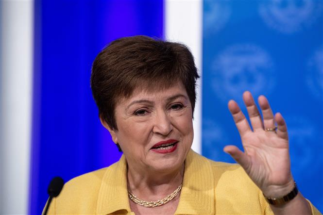 Tổng Giám đốc IMF Kristalina Georgieva phát biểu tại một cuộc họp báo ở Washington, DC, Mỹ. Ảnh: AFP/TTXVN