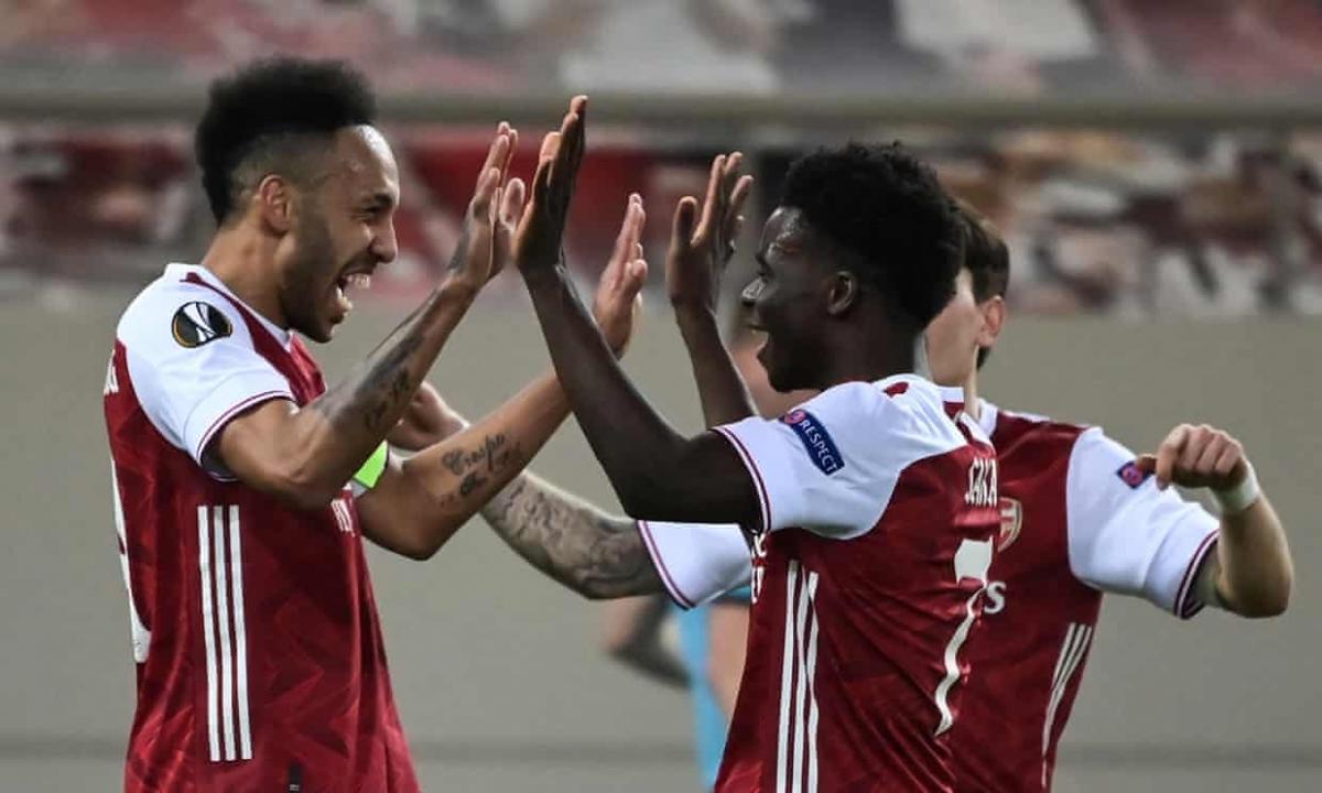 Aubameyang tỏa sáng giúp Arsenal thắng kịch tính Benfica. Ảnh: Getty