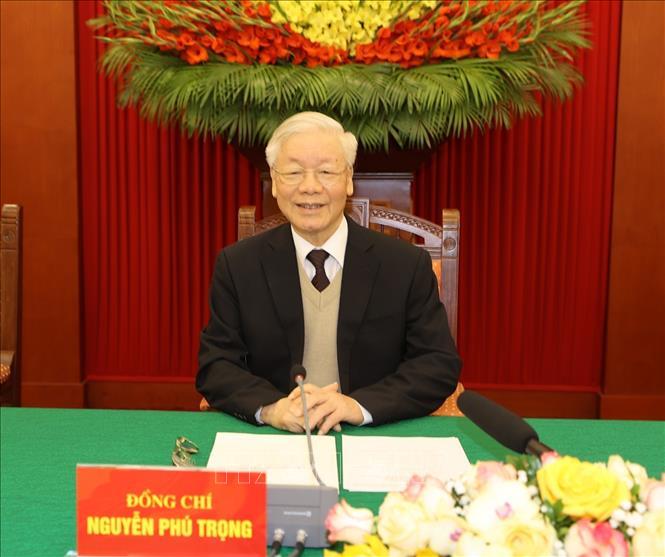 Tổng Bí thư, Chủ tịch nước Nguyễn Phú Trọng tại buổi gặp mặt.