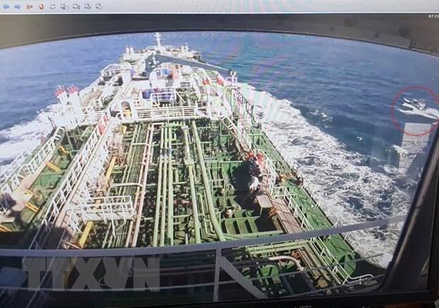 Tàu chở dầu MT Hankuk Chemi của Hàn Quốc được lực lượng Iran áp giải về tới cảng ở Bandar Abbas, miền Nam Iran ngày 4-1-2021. Ảnh: YONHAP/TTXVN