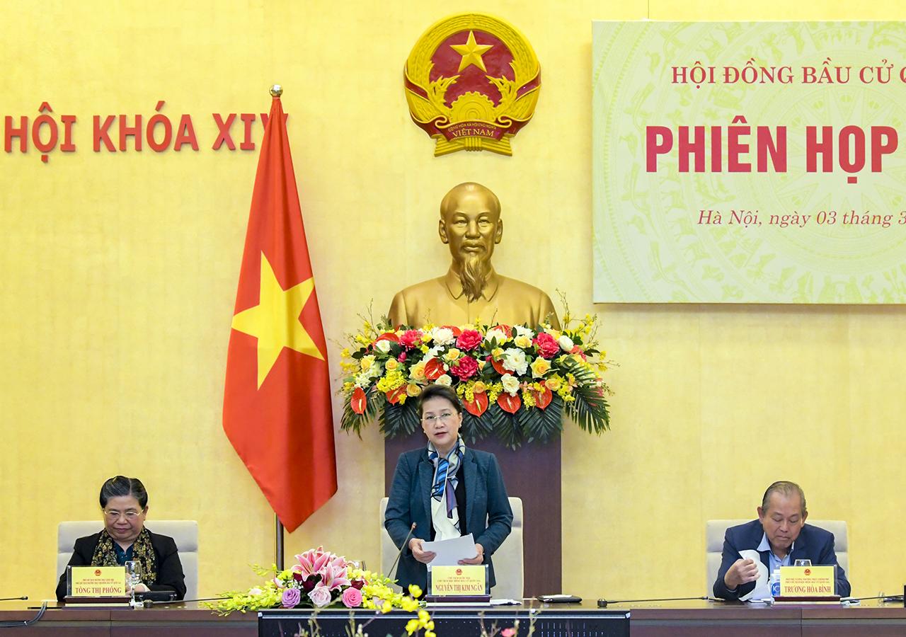 Chủ tịch Quốc hội Nguyễn Thị Kim Ngân phát biểu khai mạc Phiên họp thứ 3, Hội đồng Bầu cử quốc gia.