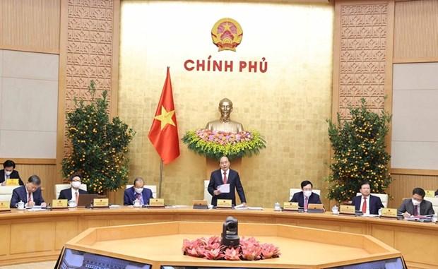 Thủ tướng Nguyễn Xuân Phúc phát biểu tại phiên họp Chính phủ thường kỳ tháng 2 ngày 2-3-2021. Ảnh: Thống Nhất/TTXVN