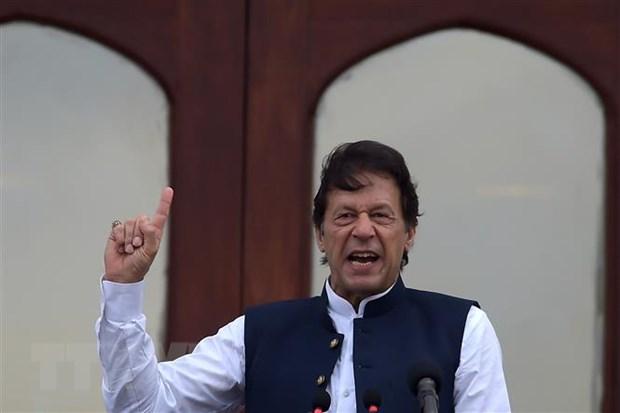 Thủ tướng Pakistan Imran Khan trong bài phát biểu tại thủ đô Islamabad. (Ảnh: AFP/TTXVN)