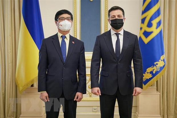 Đại sứ Đặc mệnh toàn quyền Việt Nam tại Ukraine Nguyễn Hồng Thạch trình Ủy nhiệm thư lên Tổng thống Ukraine. Ảnh: TTXVN phát