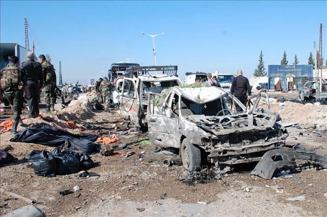 Hiện trường một vụ tấn công tại Hama, Syria. Ảnh tư liệu: AFP/TTXVN