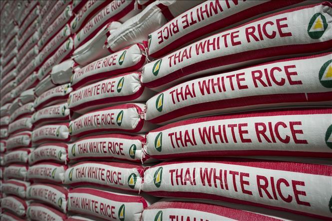 Gạo chuẩn bị được đưa đi xuất khẩu tại Bangkok, Thái Lan. Ảnh: AFP/TTXVN
