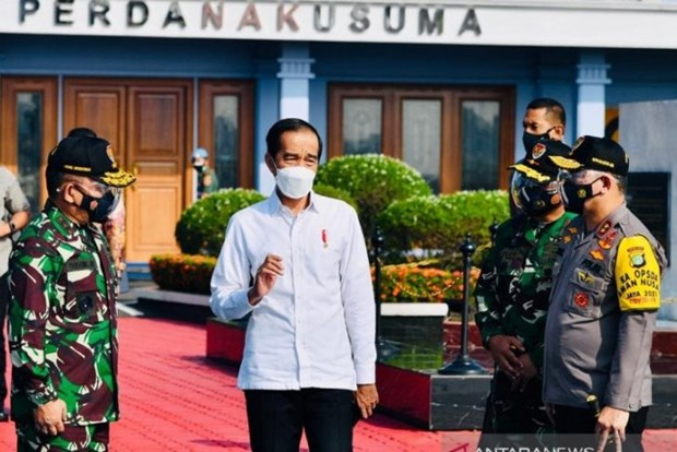 Tổng thống Indonesia Joko Widodo đến Bali. (Nguồn: antaranews)