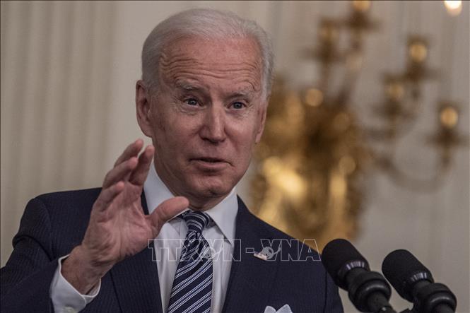 Tổng thống Mỹ Joe Biden phát biểu tại Nhà Trắng, Washington, DC ngày 15-3-2021. Ảnh: AFP/TTXVN