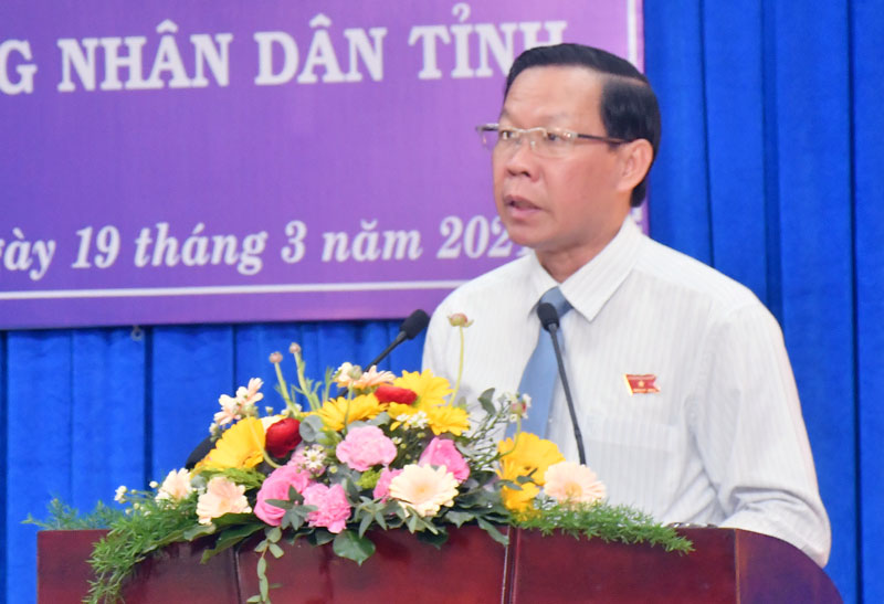 Phát biểu khai mạc Kỳ họp của Bí thư Tỉnh ủy - Chủ tịch HĐND tỉnh Phan Văn Mãi.
