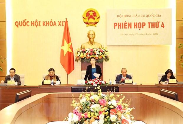 Chủ tịch Quốc hội Nguyễn Thị Kim Ngân, Chủ tịch Hội đồng Bầu cử quốc gia phát biểu. (Ảnh: Trọng Đức/TTXVN)