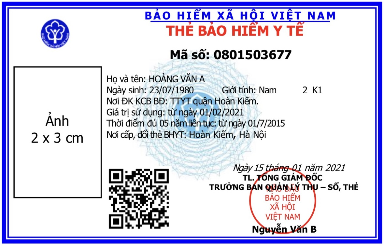 Mẫu thẻ BHYT mới từ 1-4-2021.