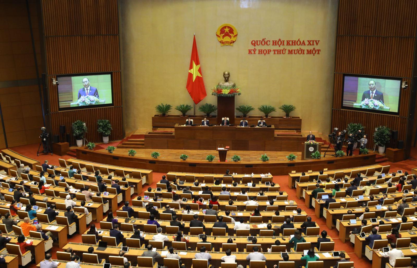 Chủ tịch nước Nguyễn Xuân Phúc phát biểu nhậm chức trước Quốc hội sáng 5-4-2021. Ảnh: Văn Điệp - TTXVN
