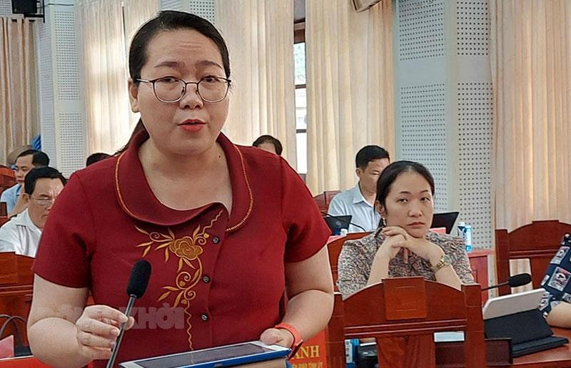Bí thư Huyện ủy Mỏ Cày Nam Nguyễn Thị Hồng Nhung phát biểu tại tổ. Ảnh: Phan Hân