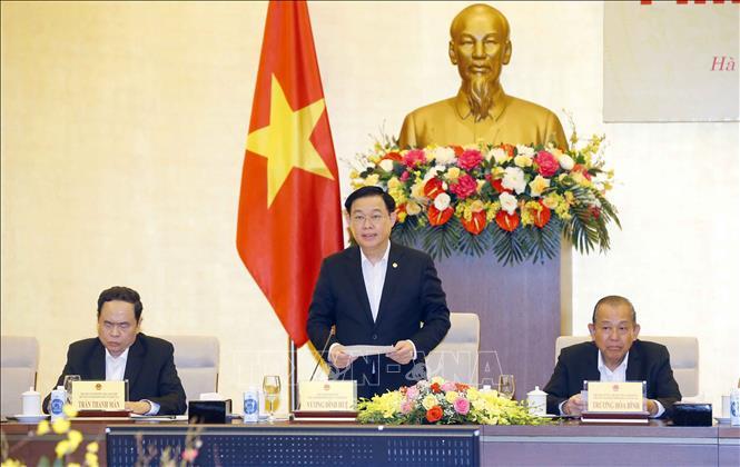 Chủ tịch Quốc hội Vương Đình Huệ, Chủ tịch Hội đồng bầu cử quốc gia, phát biểu. Ảnh: Doãn Tấn/TTXVN