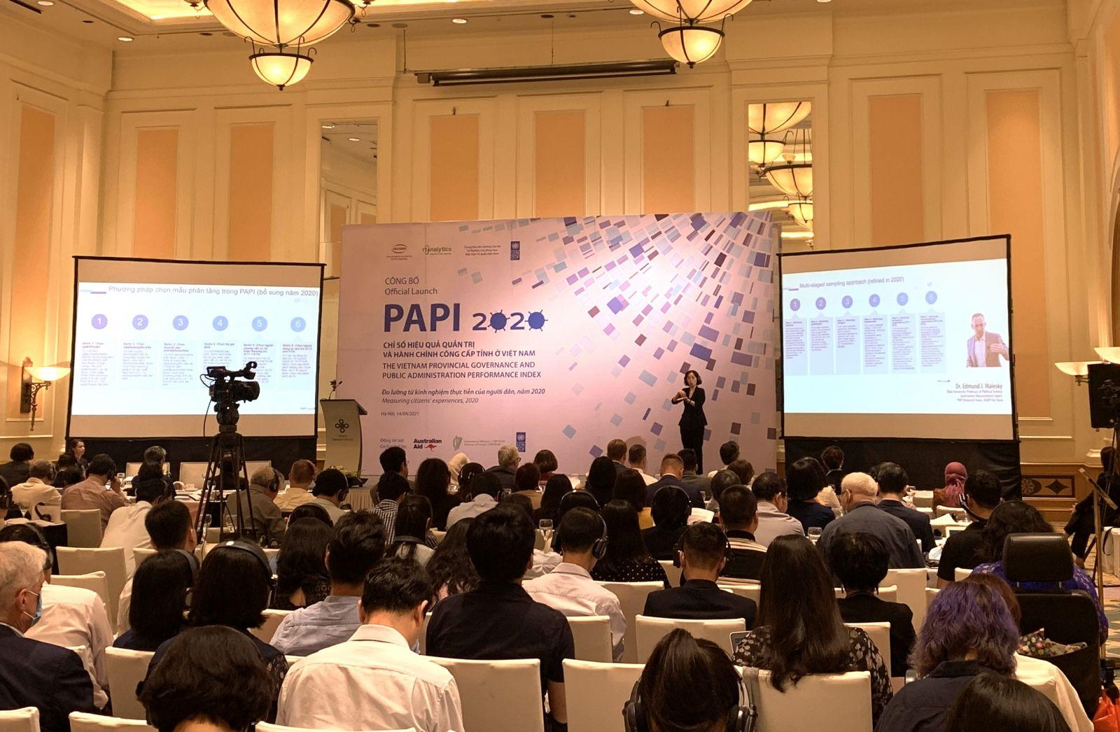 Toàn cảnh buổi công bố PAPI 2020. Ảnh:VGP/HT