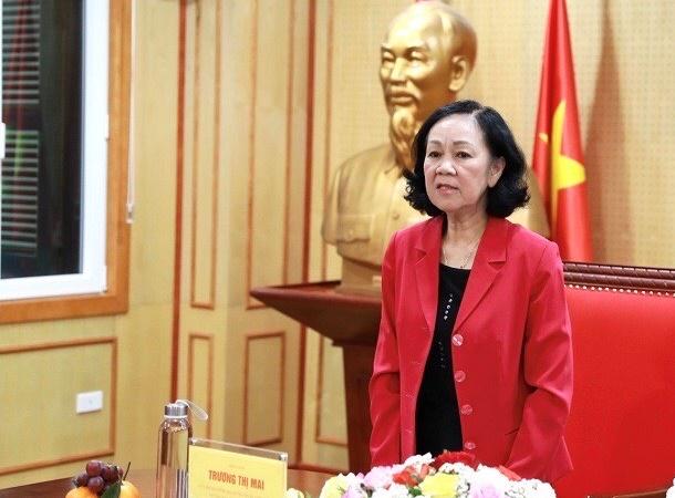 Trưởng Ban Tổ chức Trung ương Trương Thị Mai phát biểu tại Hội nghị.