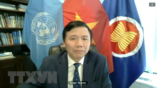 Đại sứ Đặng Đình Quý - Trưởng Phái đoàn đại diện thường trực Việt Nam tại Liên hợp quốc phát biểu tại phiên thảo luận. Ảnh: Hữu Thanh/TTXVN