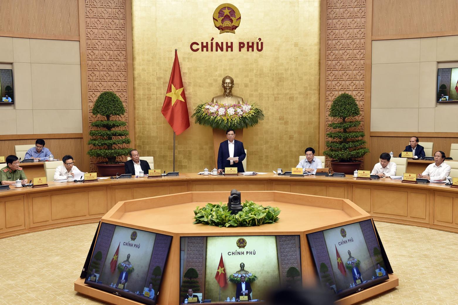 Ngày 15-4-2021, tại Trụ sở Chính phủ, Thủ tướng Chính phủ Phạm Minh Chính chủ trì phiên họp Chính phủ triển khai công việc sau khi được kiện toàn nhân sự tại kỳ họp thứ 11, Quốc hội khóa XIV - Ảnh: VGP/Nhật Bắc