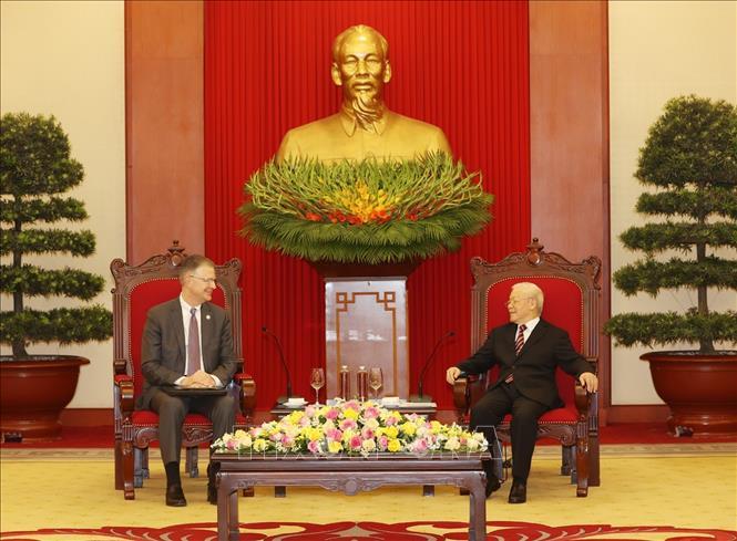 Tổng Bí thư Nguyễn Phú Trọng tiếp Đại sứ Hoa Kỳ Daniel J.Kritenbrink đến chào từ biệt nhân kết thúc nhiệm kỳ công tác tại Việt Nam. Ảnh: TTXVN