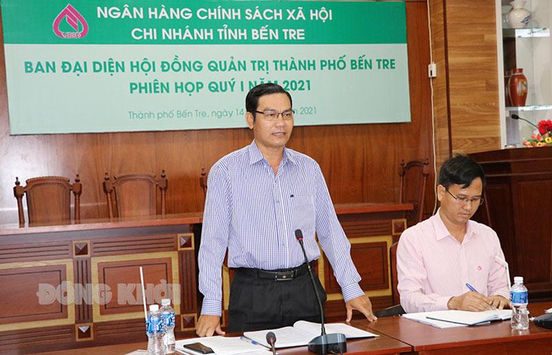 Phó chủ tịch UBND TP. Bến Tre Nguyễn Văn Thương phát biểu tại hội nghị.