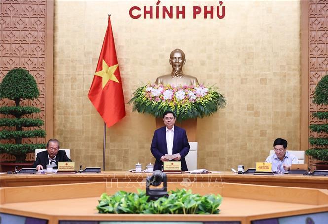 Thủ tướng Phạm Minh Chính phát biểu kết luận phiên họp, sáng 15-4-2021. Ảnh: Dương Giang/TTXVN