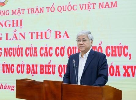 Chủ tịch Ủy ban Trung ương MTTQ Việt Nam Đỗ Văn Chiến phát biểu tại Hội nghị. Ảnh: VGP/Nhật Bắc