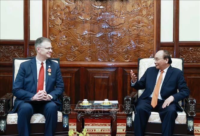 Chủ tịch nước Nguyễn Xuân Phúc tiếp Đại sứ Hoa Kỳ tại Việt Nam Daniel Kritenbrink. Ảnh: Thống Nhất/TTXVN
