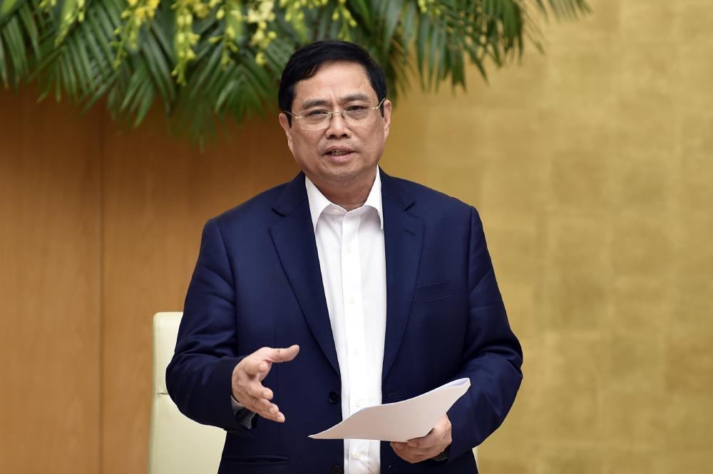 Thủ tướng Phạm Minh Chính phát biểu chỉ đạo tại phiên họp Chính phủ ngày 15-4-2021. Ảnh: VGP