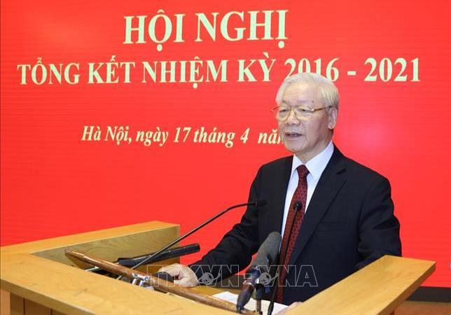 Tổng Bí thư Nguyễn Phú Trọng phát biểu tại hội nghị. Ảnh TTXVN