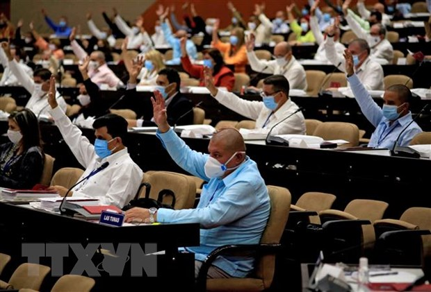 Các đại biểu tại phiên khai mạc Đại hội Đảng Cộng sản Cuba (PCC) lần thứ VIII ở La Habana. Ảnh: AFP/TTXVN